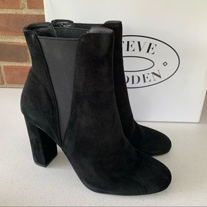Steve Madden Effect black chucky heel ankle boots